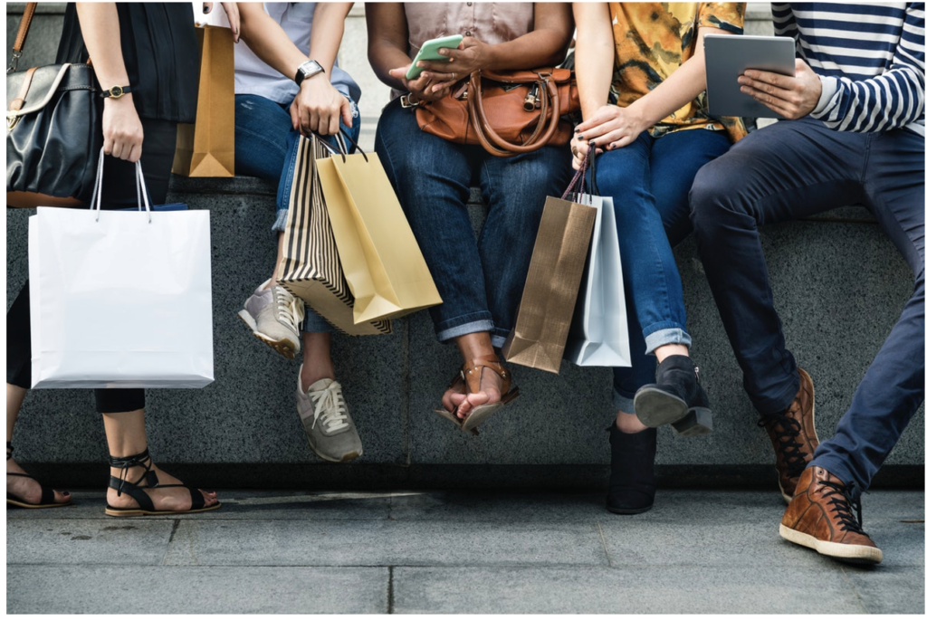 consumers with shopping bags