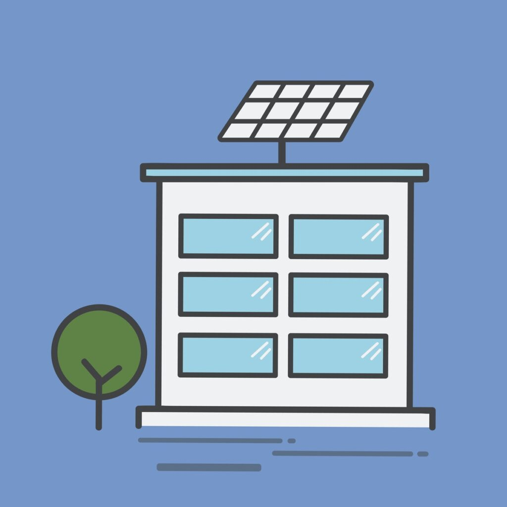 Bank with solar panel on roof